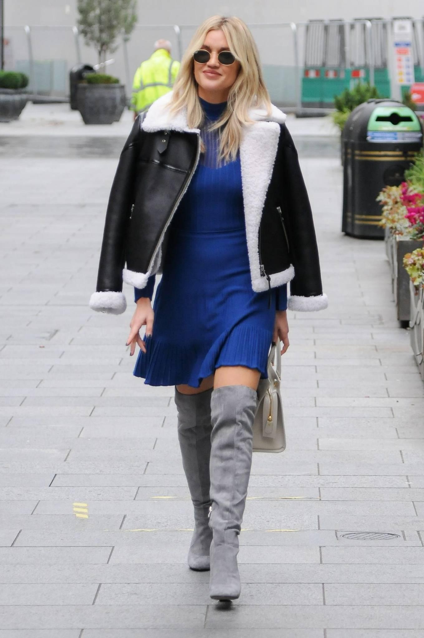 Ashley Roberts 2020 : Ashley Roberts – In blue dress leaving Global Radio in London-03