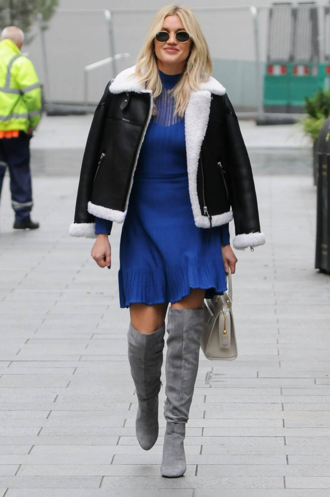 Ashley Roberts 2020 : Ashley Roberts – In blue dress leaving Global Radio in London-05