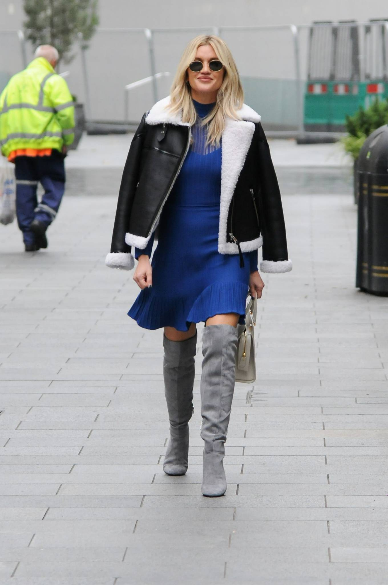 Ashley Roberts 2020 : Ashley Roberts – In blue dress leaving Global Radio in London-06