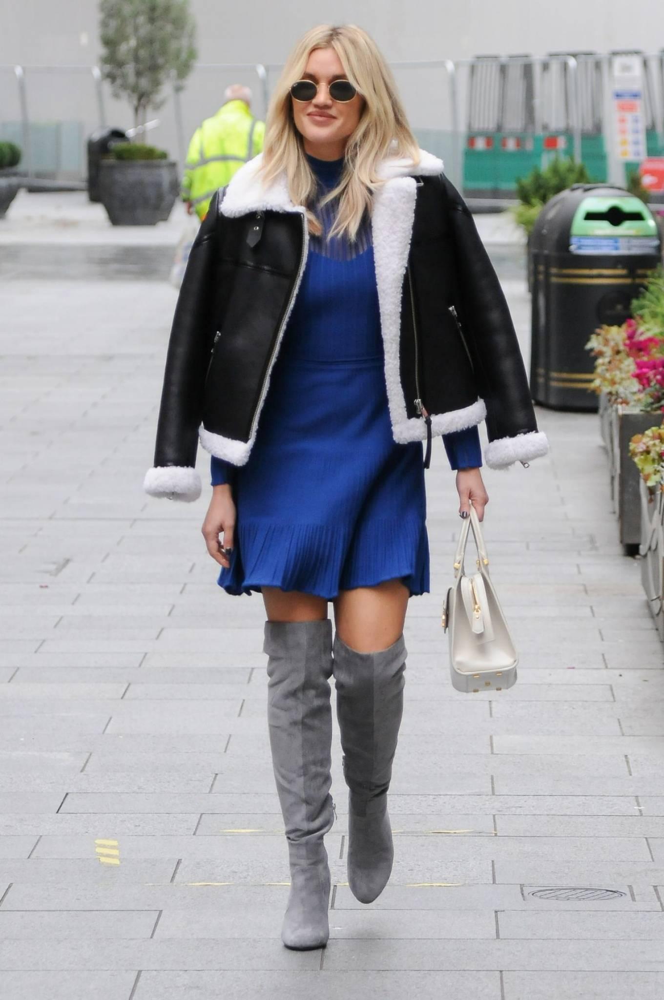 Ashley Roberts 2020 : Ashley Roberts – In blue dress leaving Global Radio in London-07