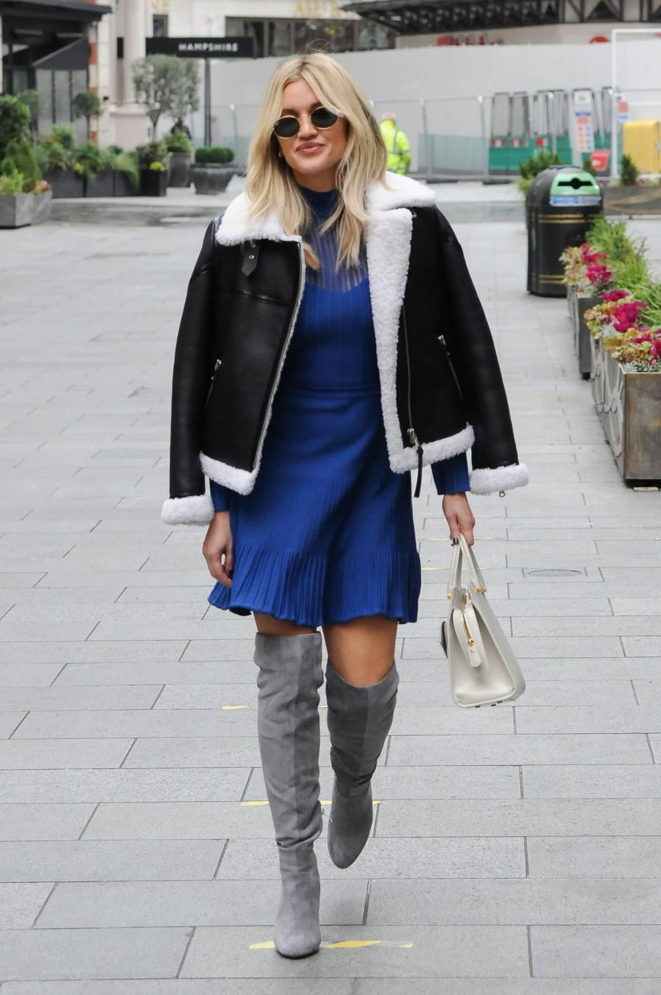 Ashley Roberts 2020 : Ashley Roberts – In blue dress leaving Global Radio in London-08
