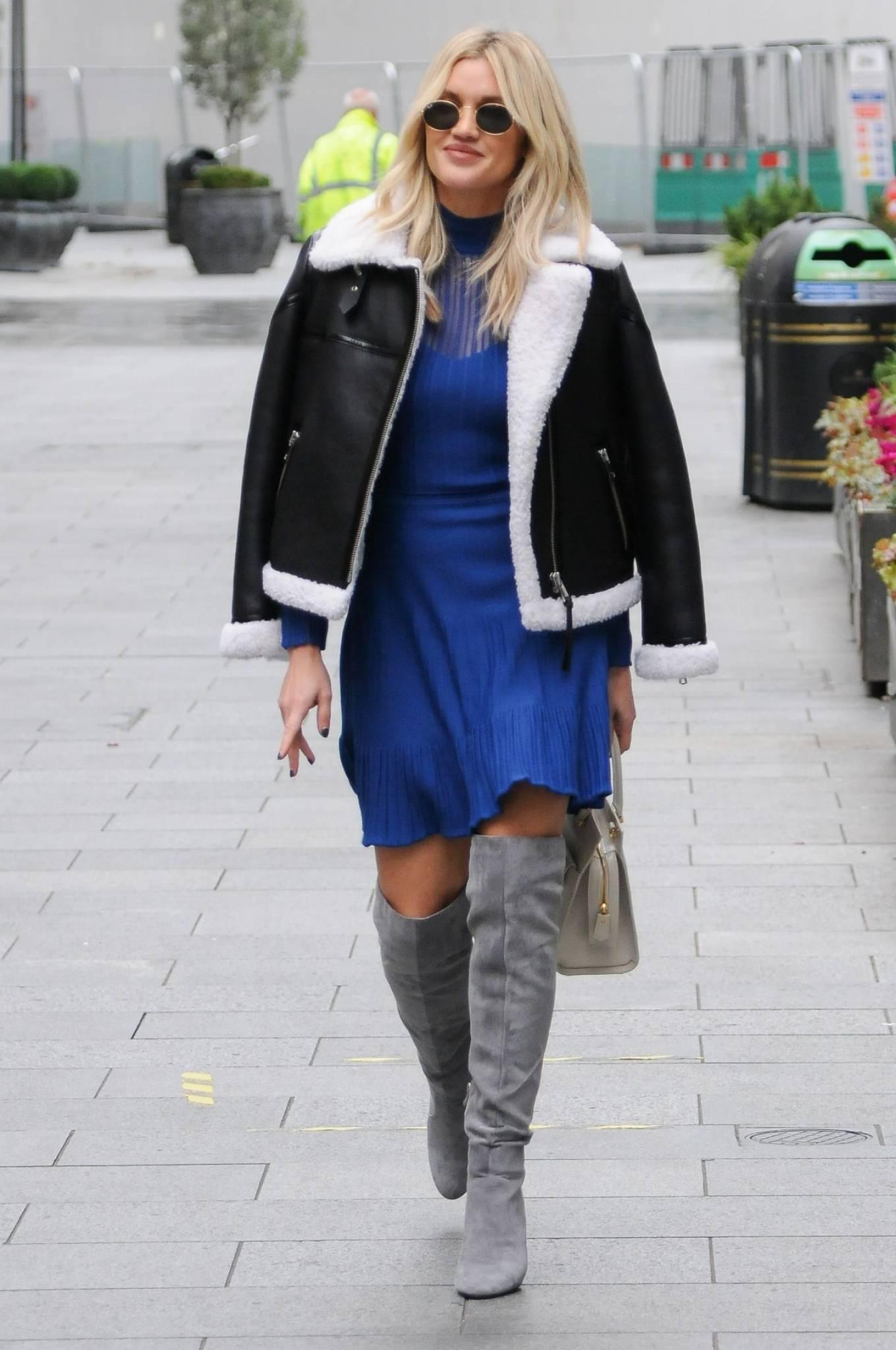 Ashley Roberts 2020 : Ashley Roberts – In blue dress leaving Global Radio in London-09