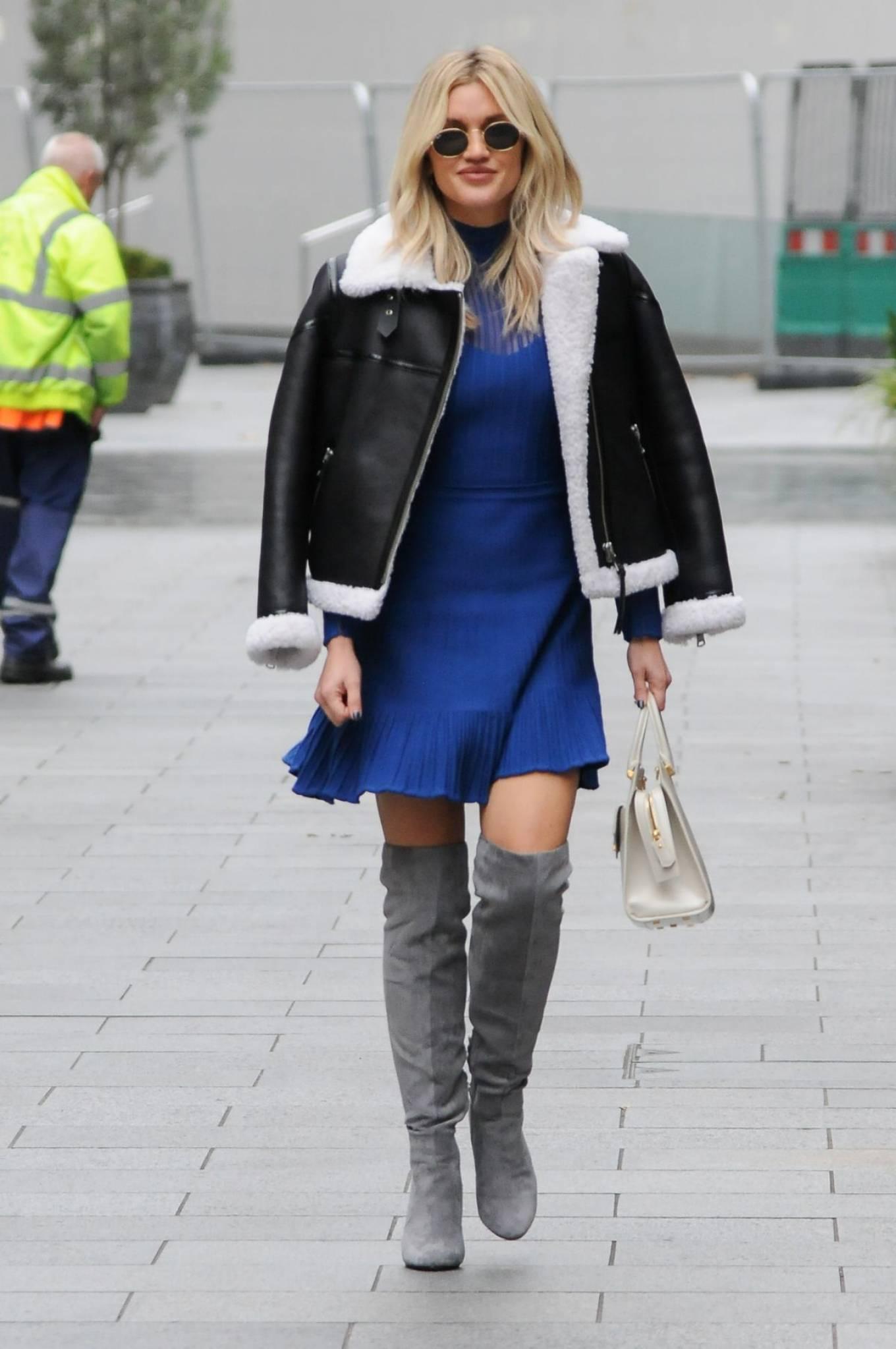 Ashley Roberts 2020 : Ashley Roberts – In blue dress leaving Global Radio in London-10