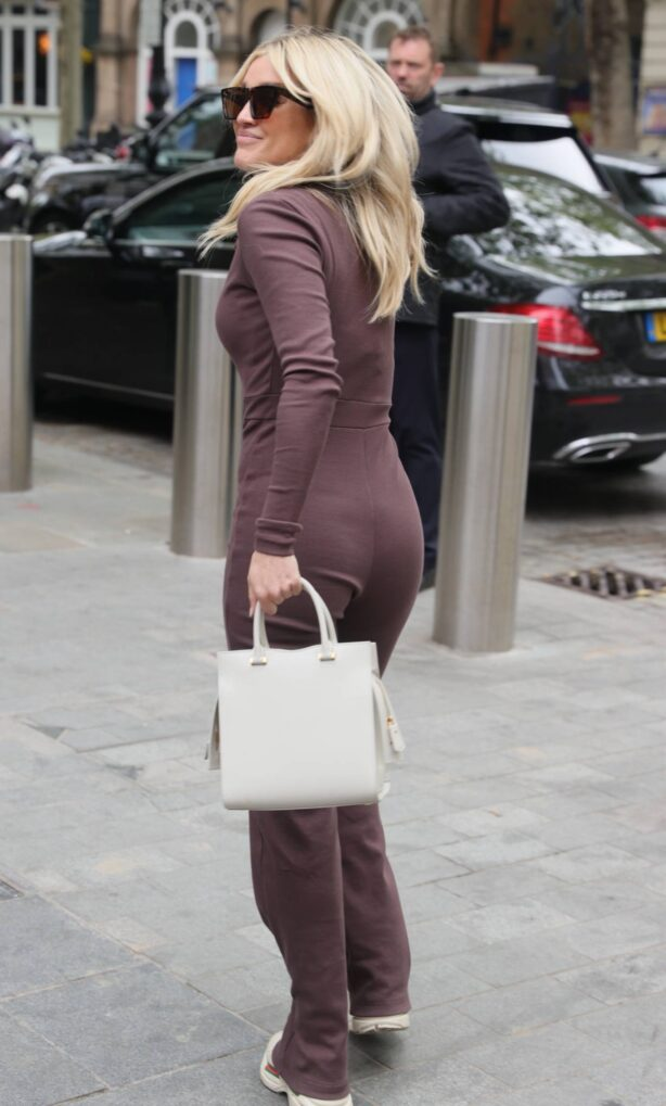Ashley Roberts - in brown catsuit at Heart radio in London