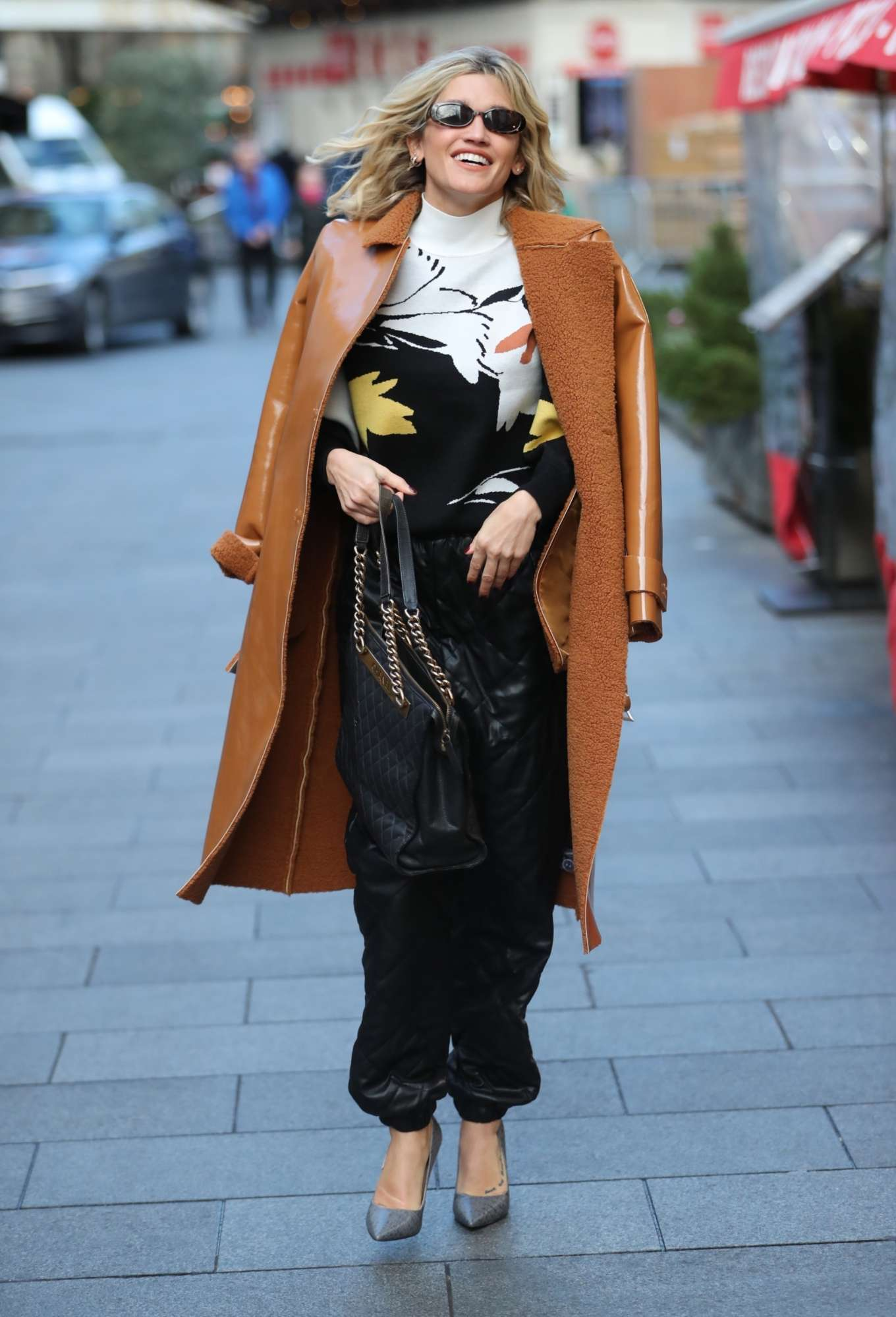 Ashley Roberts in Brown Coat - Leaving Heart Radio in London