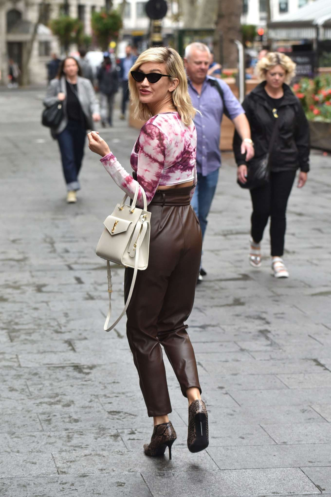 Ashley Roberts in Brown Leather Pants - Leaving the Global Radio Studios in London