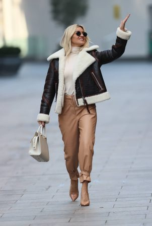 Ashley Roberts - In brown leather trousers out in London