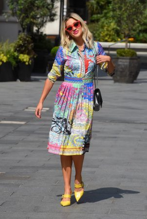 Ashley Roberts in Colorful Dress - Departing the Global Radio Studios in London