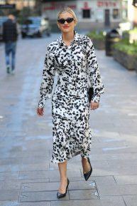 Ashley Roberts - In dalmatian inspired dress outside Heart Radio in London