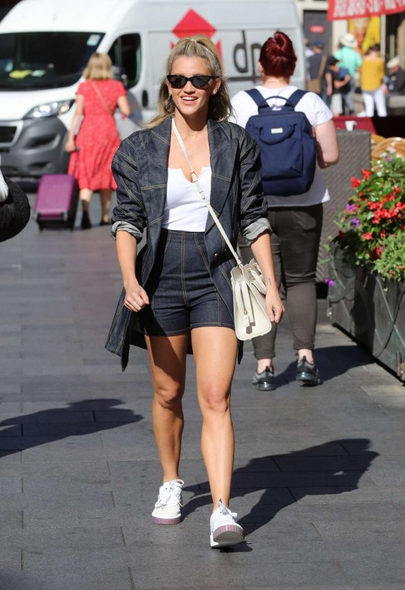 Ashley Roberts in Double Denim shorts exits Heart Radio in London