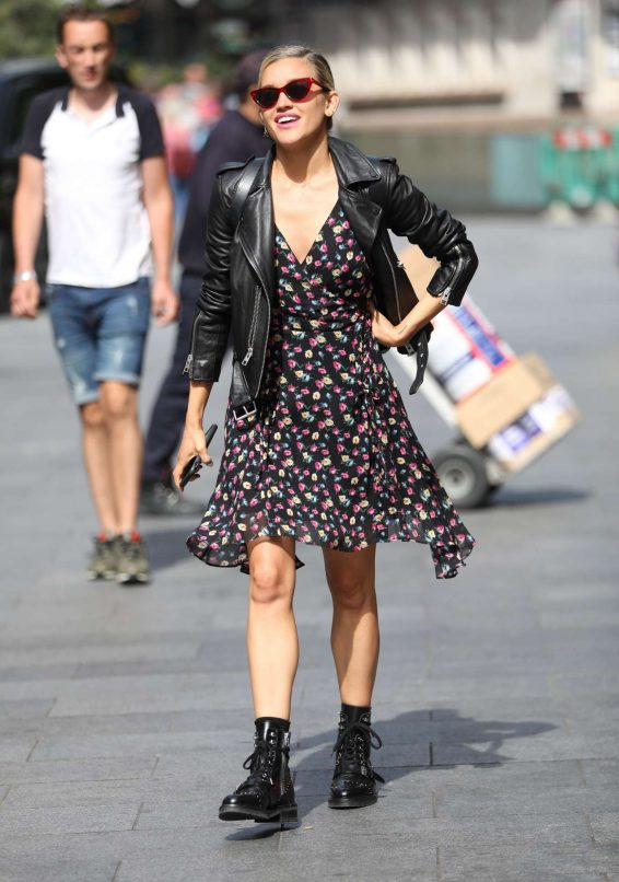 Ashley Roberts in Floral Dress and Leather Jacket - Out in London