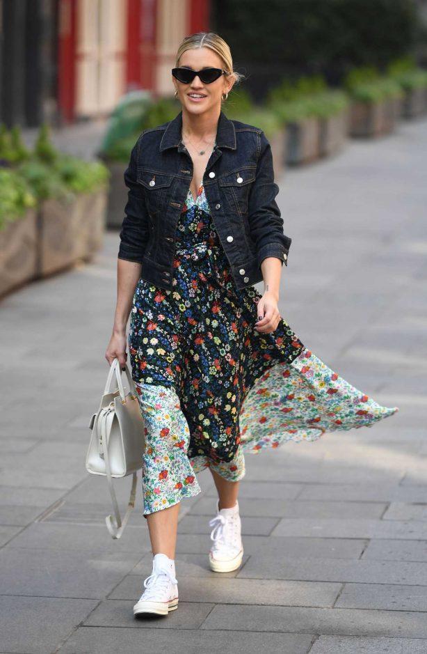 Ashley Roberts in Floral Dress - Outside Heart FM in London