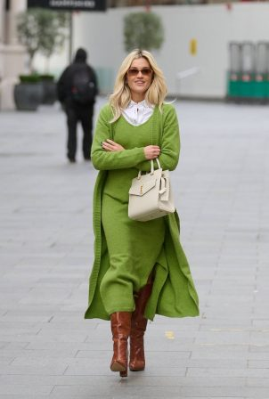 Ashley Roberts - In green dress leaving the Global Radio Studios in London