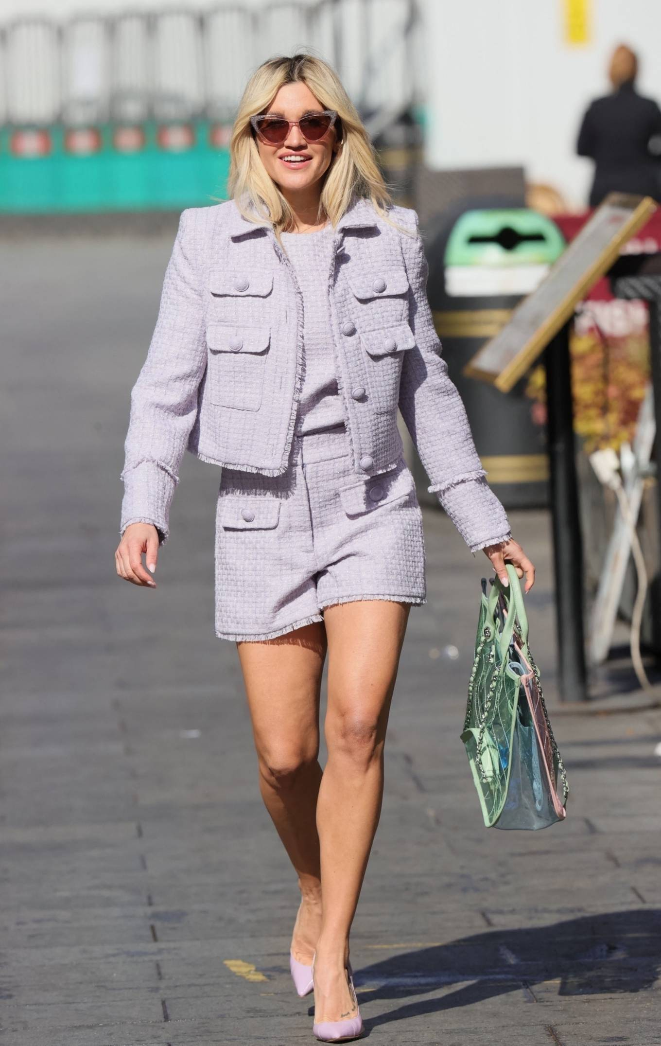 Ashley Roberts - In lilac shorts at Heart Radio Studios in London