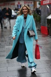 Ashley Roberts in Long Coat - Leaving Heart Radio in London