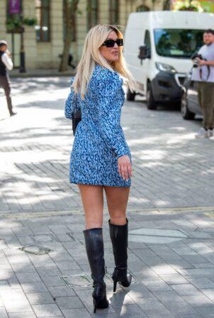 Ashley Roberts - in long-sleeve mini dress at Heart radio in London