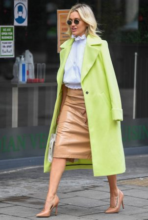 Ashley Roberts - In neon green coat leaving Global Studios in London