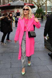 Ashley Roberts in Pink Coat - Leaves Global Radio in London