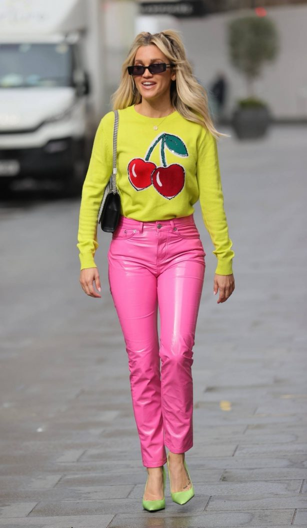 Ashley Roberts - In pink leather pants and yellow leaving the Heart Radio Studios in London