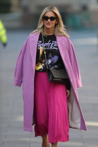 Ashley Roberts in Pink Outfit - Leaving Heart Radio Show in London