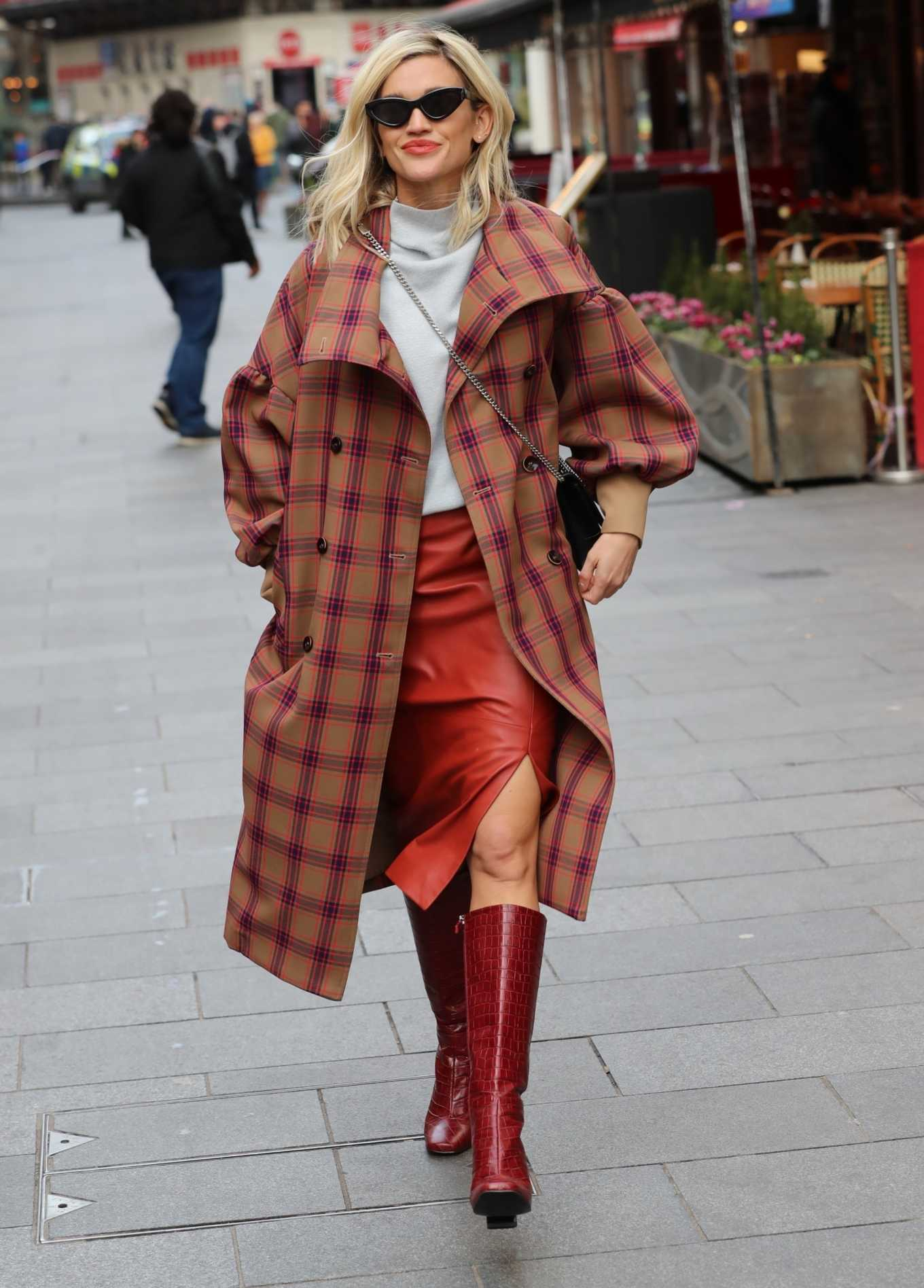 Ashley Roberts 2020 : Ashley Roberts in plaid while leaving the Heart Radio in London-03