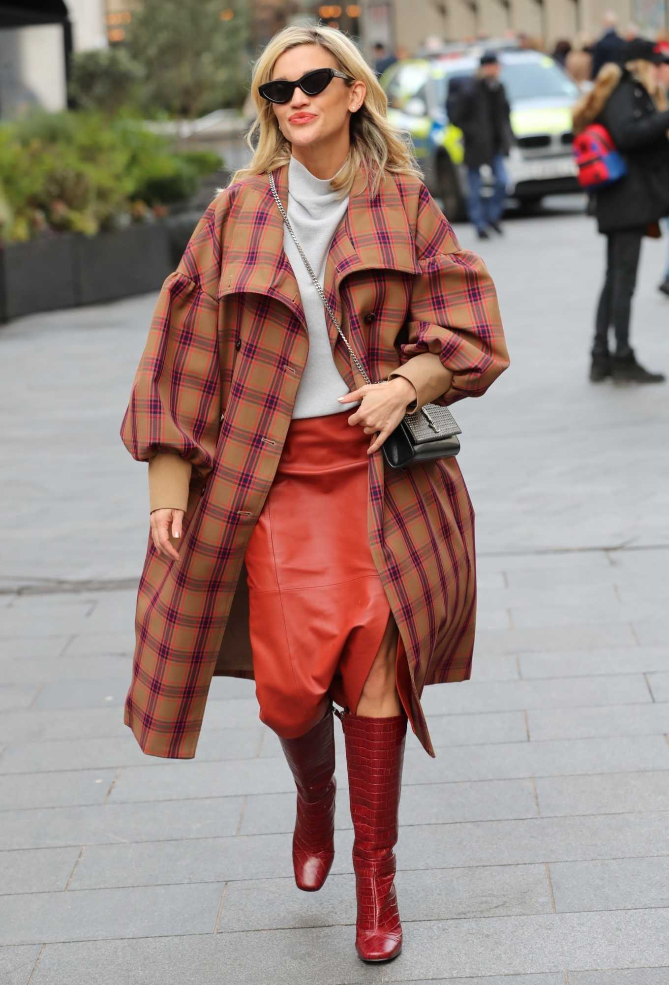 Ashley Roberts in plaid while leaving the Heart Radio in London