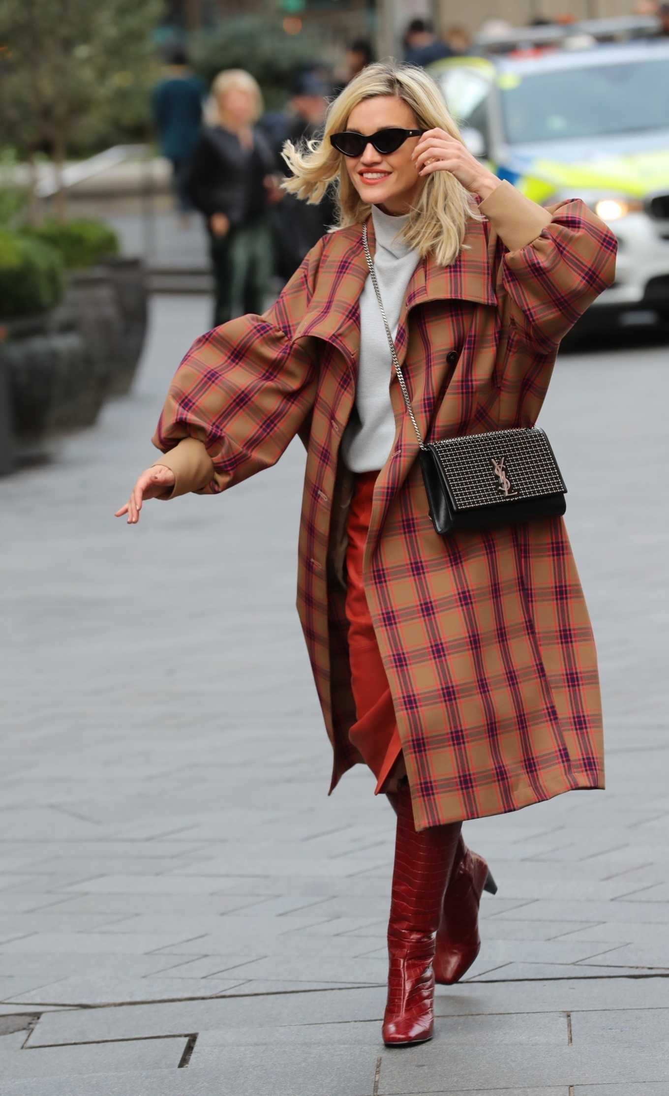 Ashley Roberts 2020 : Ashley Roberts in plaid while leaving the Heart Radio in London-05