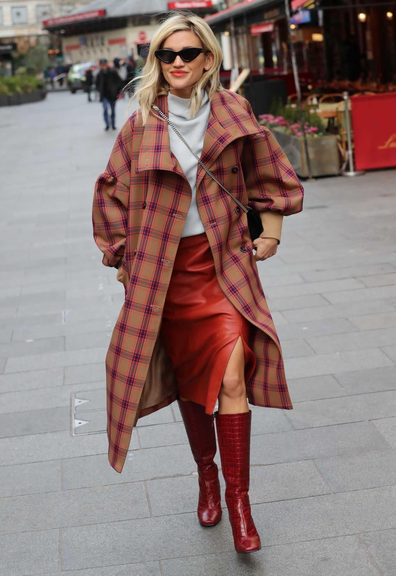 Ashley Roberts 2020 : Ashley Roberts in plaid while leaving the Heart Radio in London-07
