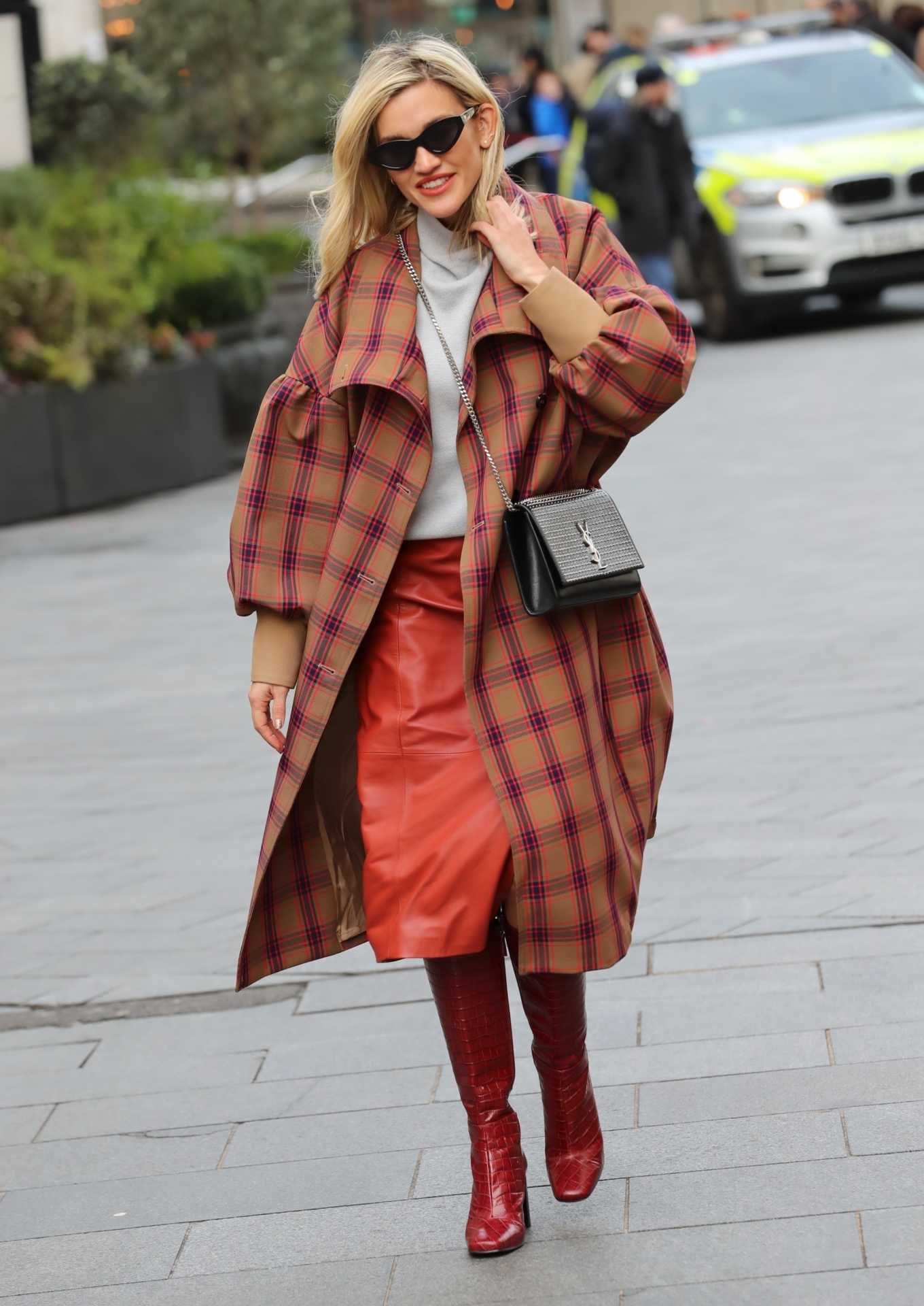 Ashley Roberts 2020 : Ashley Roberts in plaid while leaving the Heart Radio in London-08