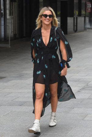 Ashley Roberts in Print Black Dress - Outside Heart FM in London