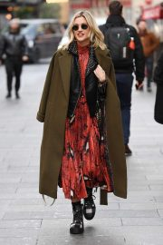 Ashley Roberts in Print Dress and Long Coat - Out in London