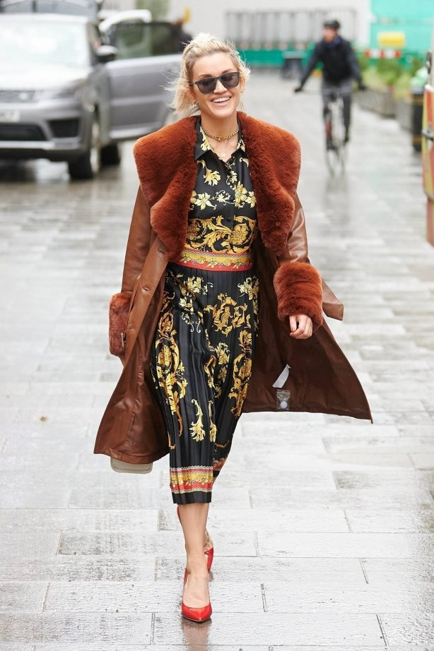 Ashley Roberts - In print dress at Heart radio in London