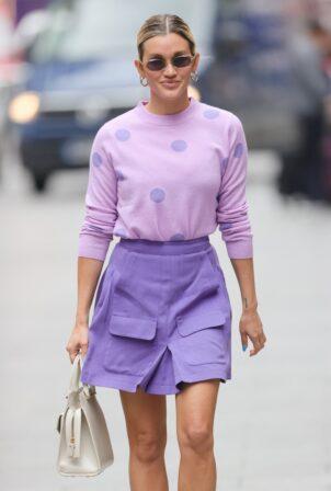 Ashley Roberts - In purple mini skirt at Heart radio in London