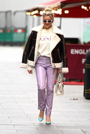 Ashley Roberts - In PVC trousers at the Heart Radio Studios in London