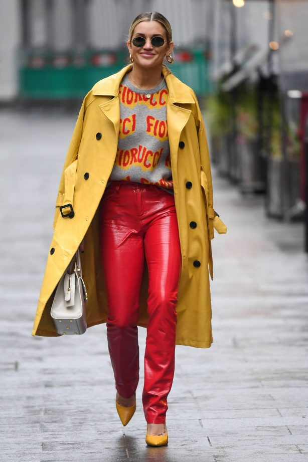 Ashley Roberts - In red leather pants leaving Global Studios - Heart FM in London