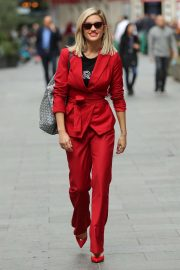 Ashley Roberts in Red Trouser Suit - Leaving Heart Radio Studios in London