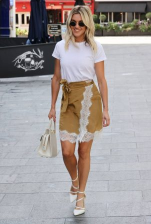 Ashley Roberts - In skirt exits the Heart Radio Studios in London