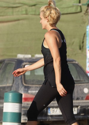 Ashley Roberts in Tights at Boot Camp in Ibiza