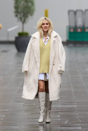 Ashley Roberts - In white coat at Global Radio in London