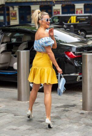 Ashley Roberts - In yellow flared miniskirt at Heart radio in London