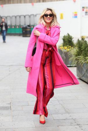 Ashley Roberts - Leaving Global Studios in all pink in London