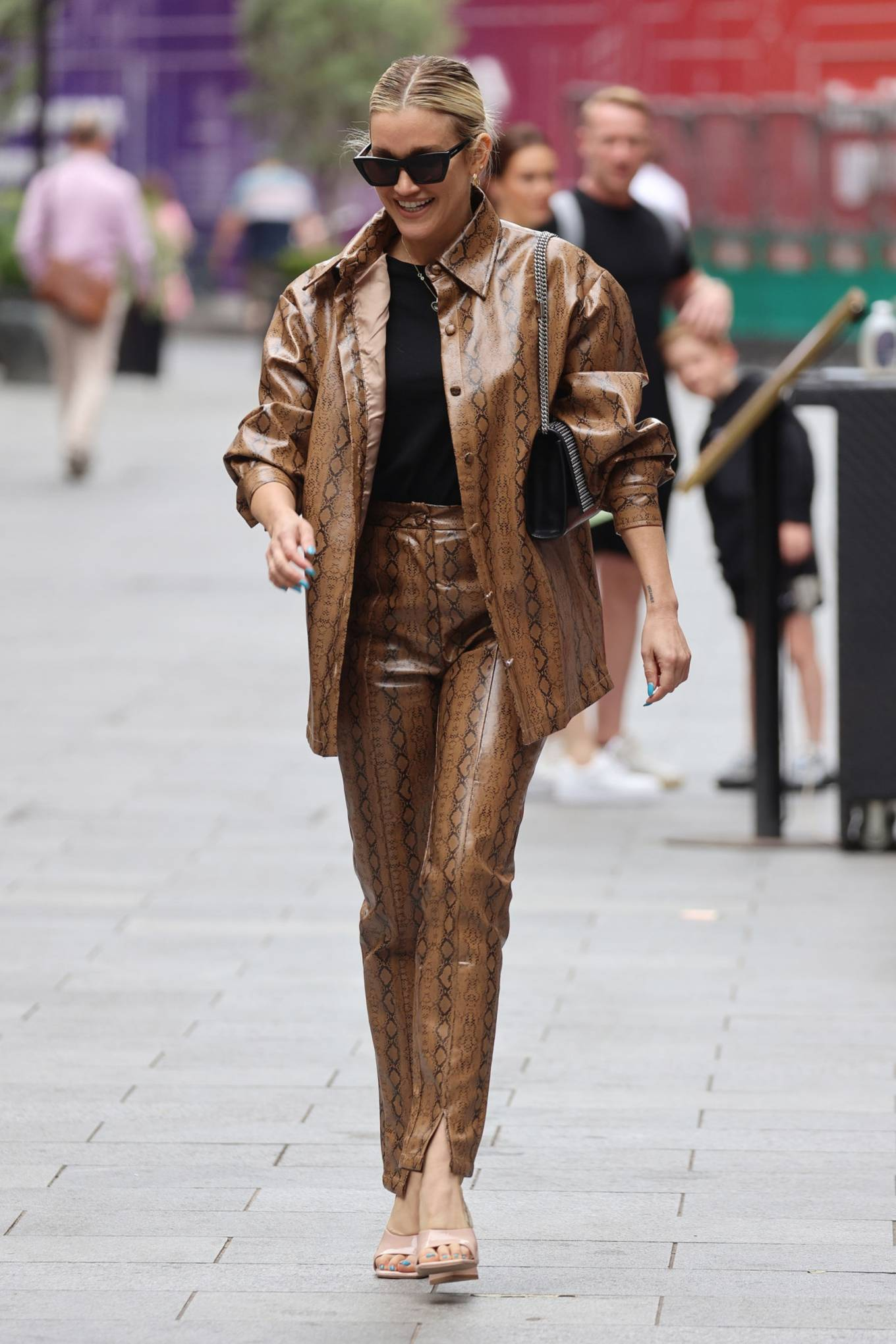 Ashley Roberts - leaving Heart Breakfast Radio Studios in London