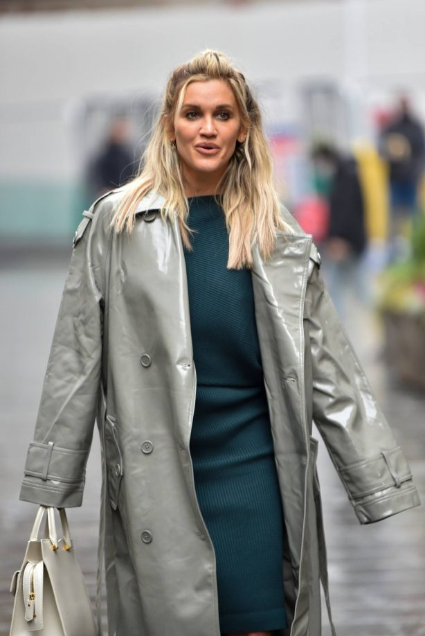 Ashley Roberts - Looks chic in silver coat and pencil skirt in London