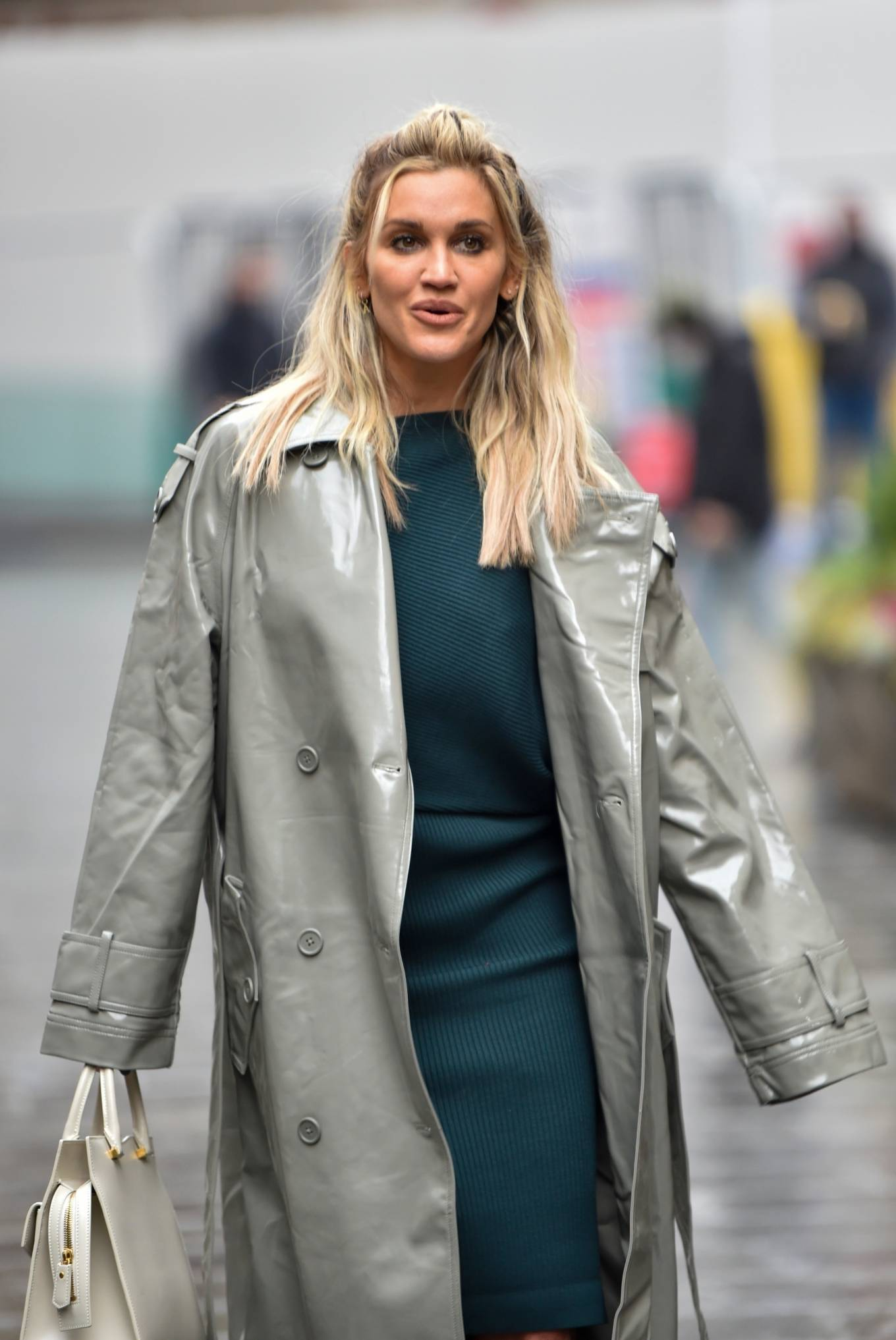 Ashley Roberts 2020 : Ashley Roberts – Looks chic in silver coat and pencil skirt in London-01