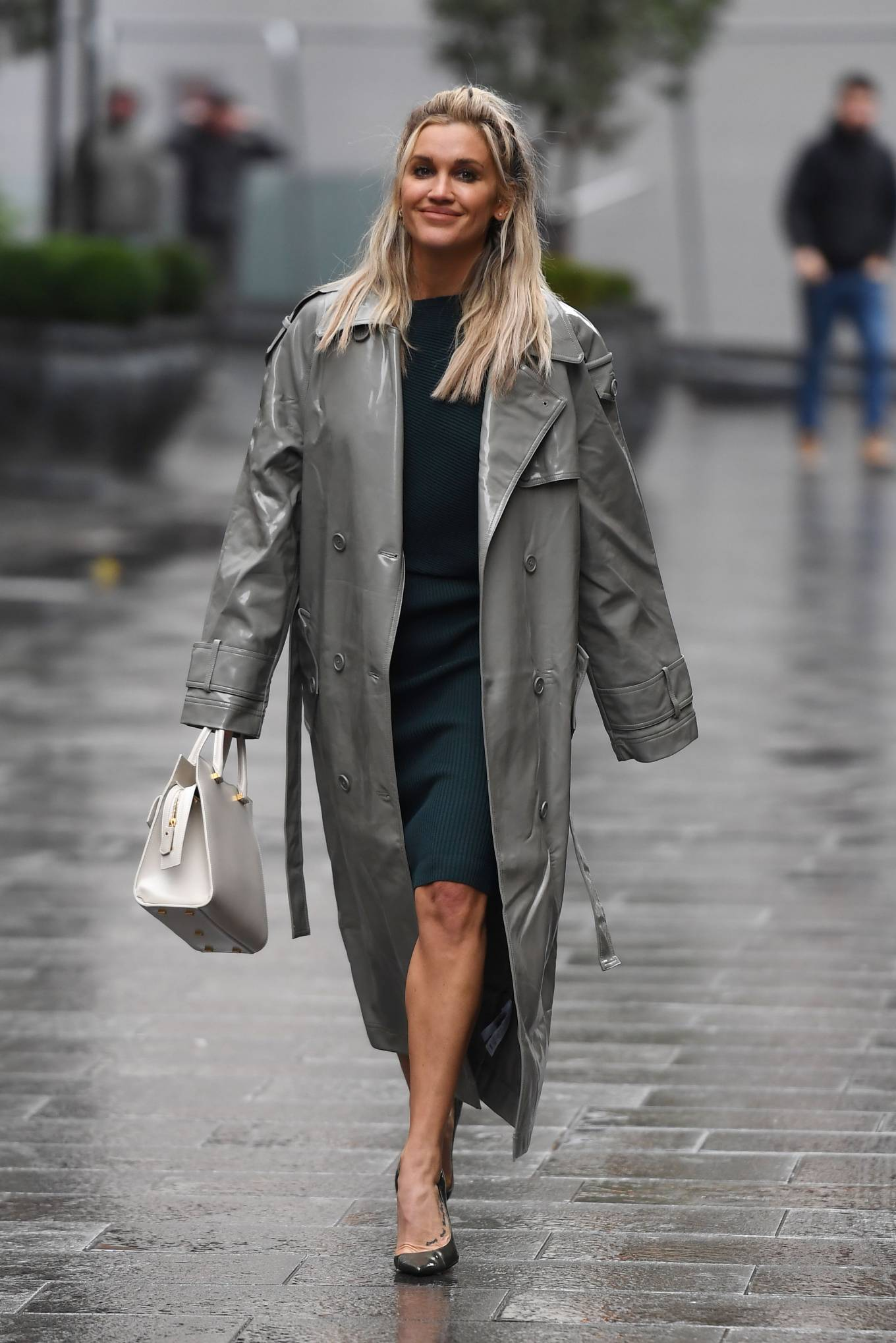 Ashley Roberts 2020 : Ashley Roberts – Looks chic in silver coat and pencil skirt in London-03
