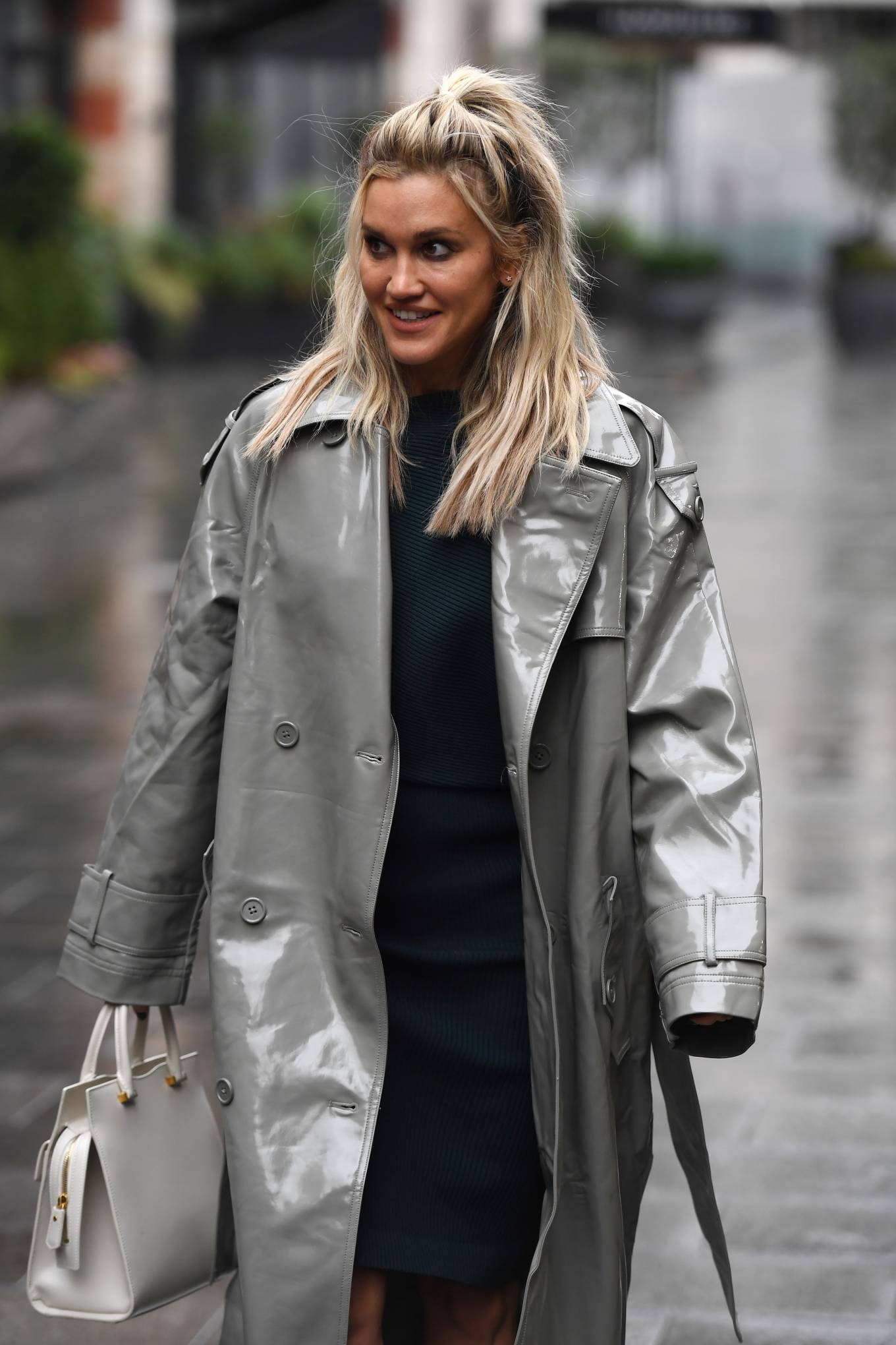 Ashley Roberts 2020 : Ashley Roberts – Looks chic in silver coat and pencil skirt in London-05