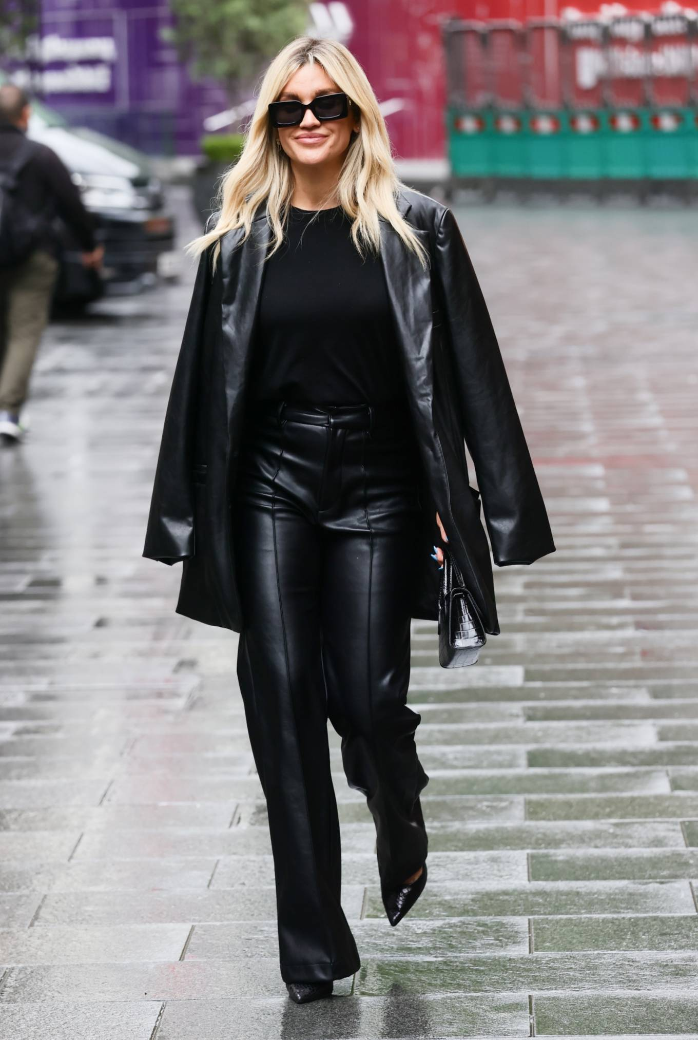 Ashley Roberts - Out in black leather pants at Heart radio in London