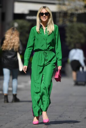 Ashley Roberts - Out in green outfit at Heart radio in London