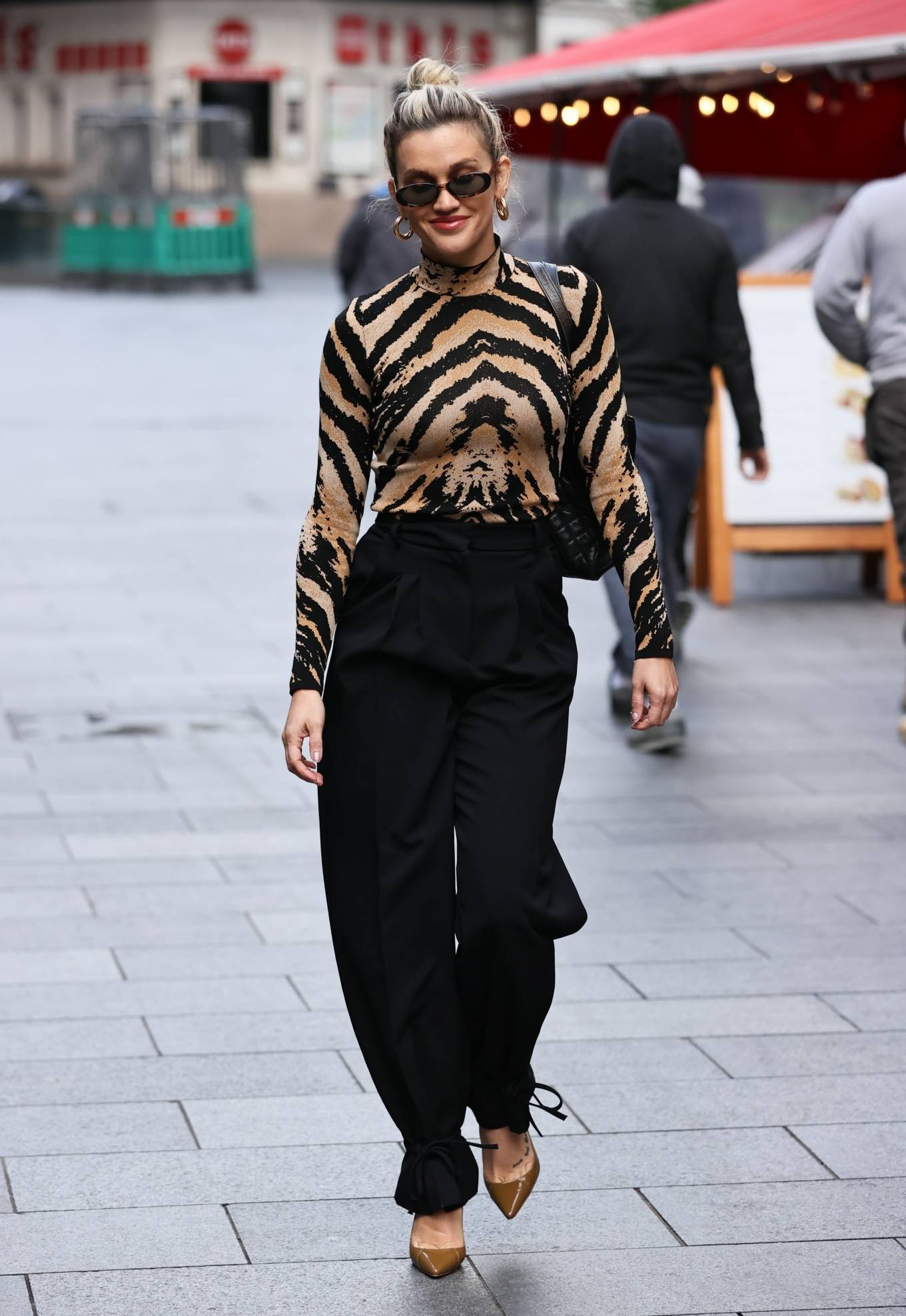 Ashley Roberts - Pictured at Heart radio in animal print in London