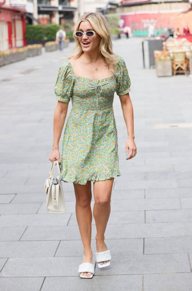 Ashley Roberts - Seen at Heart radio in floaty floral mini dress in London